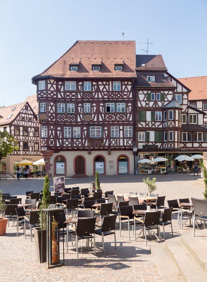 Antyczny miasteczko Mosbach w Południowy Niemcy zdjęcia stock