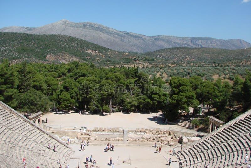 Antyczny miasteczko Mycenae na półwysepie Peloponnese Grecja 06 19 2014 Krajobraz ruiny starożytnego grka architectu zdjęcia stock