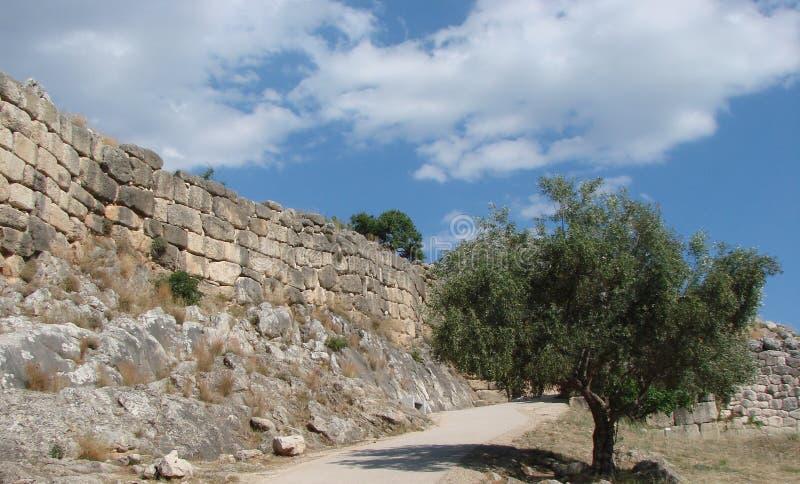 Antyczny miasteczko Mycenae na półwysepie Peloponnese Grecja 06 19 2014 Krajobraz ruiny starożytnego grka architectu fotografia stock