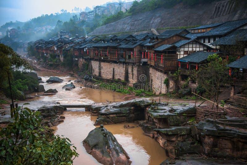 Antyczny miasteczko w deszczu obrazy stock