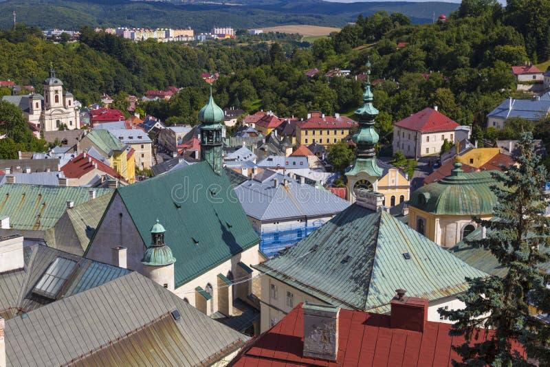 Antyczny miasto Banska Stiavnica, Sistani, UNESCO starzy miasto dachy obrazy royalty free