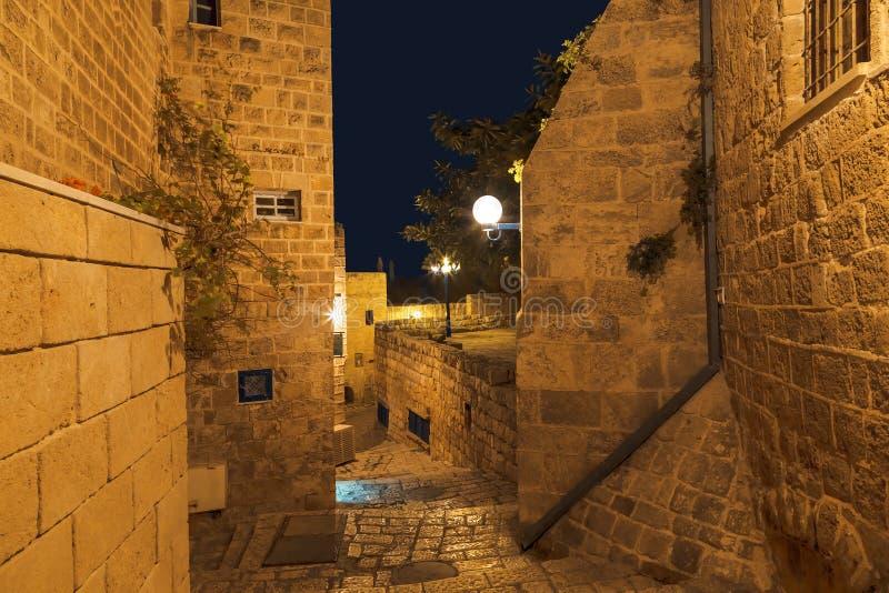 Antyczny miasto Jaffa przy noc?, Tel Aviv, fotografia stock