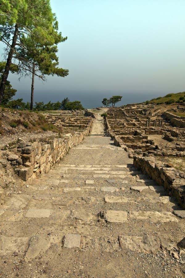 Antyczny miasto Kamiros ont on wyspa Rhodes. zdjęcia royalty free