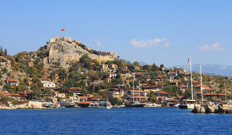 Antyczny miasto na seashore Kekova Turcja obrazy royalty free