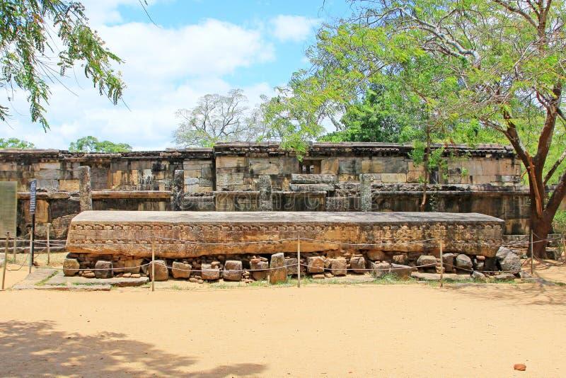 Antyczny miasto Polonnaruwa ` s Galpota kamienia książka - Sri Lanka UNESCO światowe dziedzictwo obrazy royalty free