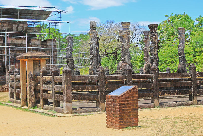 Antyczny miasto Polonnaruwa ` s Nissankalata Mandapa świątynia - Sri Lanka UNESCO światowe dziedzictwo zdjęcia royalty free