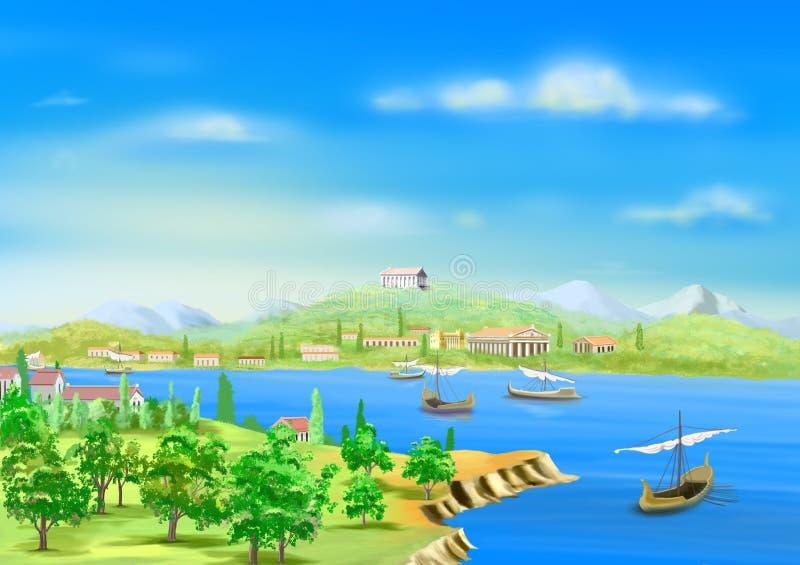 Antyczny miasto w Egipt, na bankach Nil rzeka ilustracja wektor