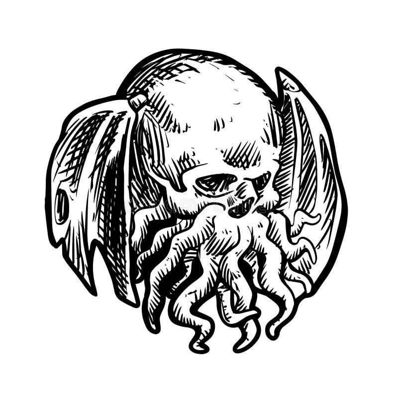Antyczny Mityczny potwór Cthulhu royalty ilustracja