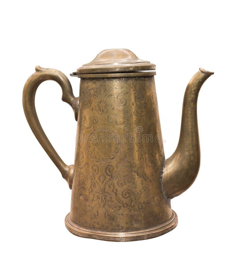 Antyczny mosiężny kawowy garnek, xix wiek zdjęcie royalty free