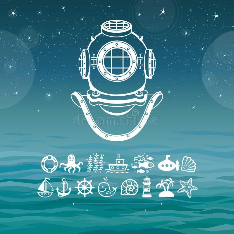 Antyczny nurkowy hełm Set denne ikony ilustracja wektor