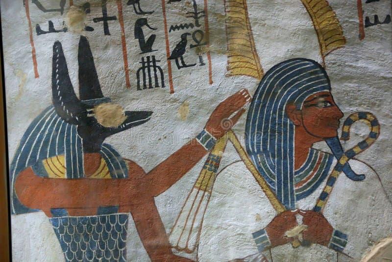 Antyczny obraz na ścianie przy Egipskimi grób royalty ilustracja