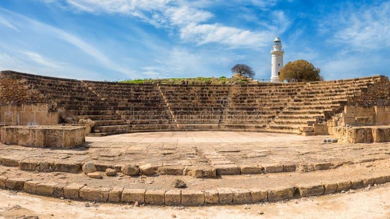 Antyczny Odeon amphitheatre w Paphos Archeologicznym parku, Cypr zdjęcie stock