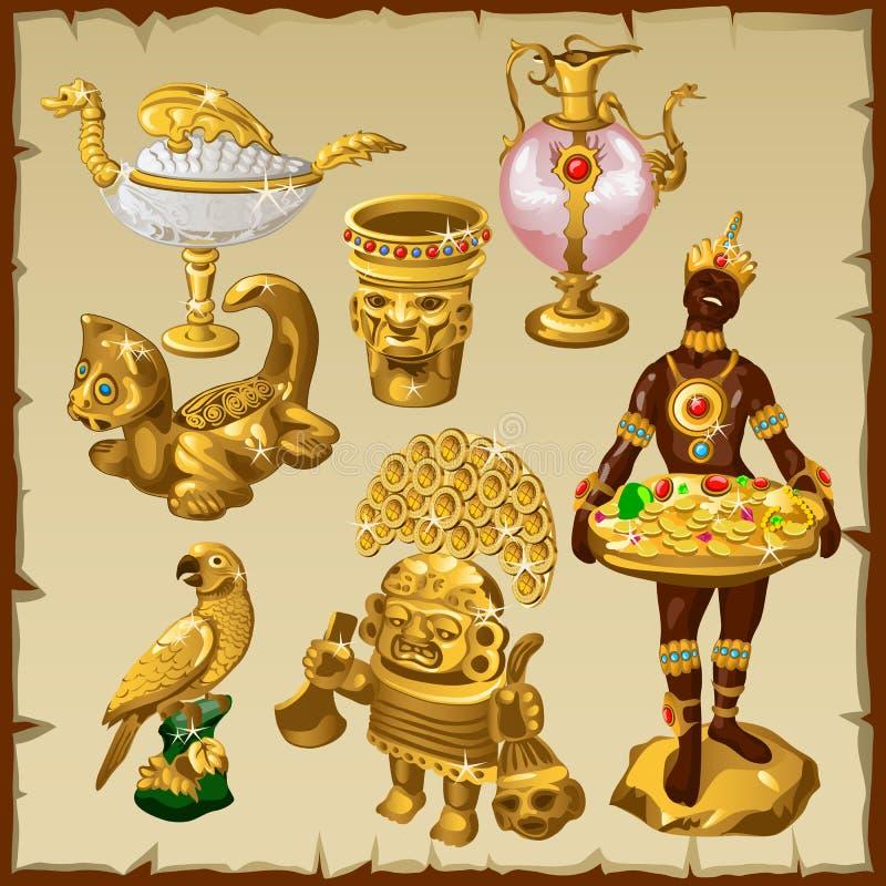 Antyczny orientał i Azjatyckie złote rzeźby royalty ilustracja