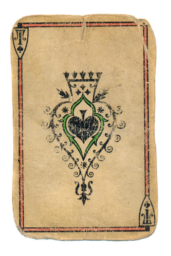 Antyczny płaci karciany as rydla ornamentacyjny tło fotografia royalty free