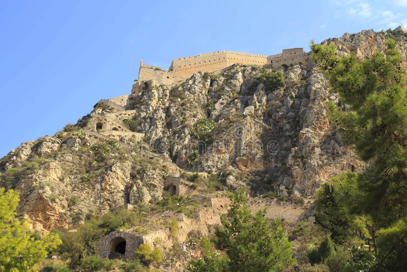 Antyczny Palamidi forteca na wzgórzu, Nafplion obraz stock