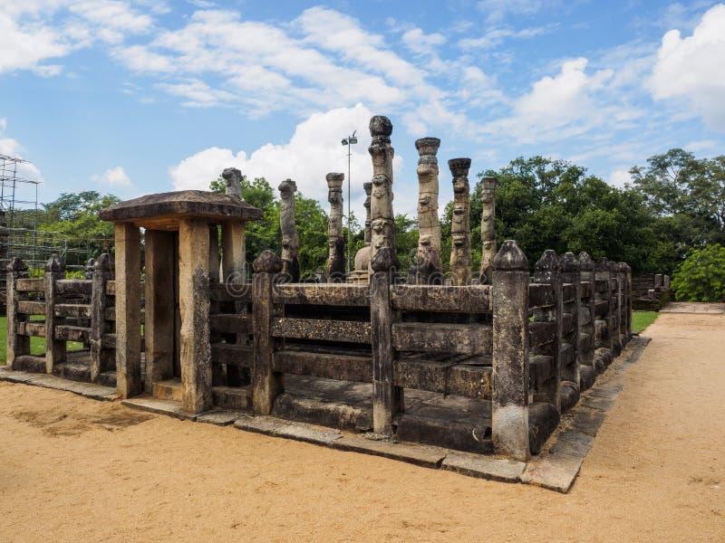 Antyczny pawilon w Pllonnaruwa antycznym mieście, Sri Lanka zdjęcie stock