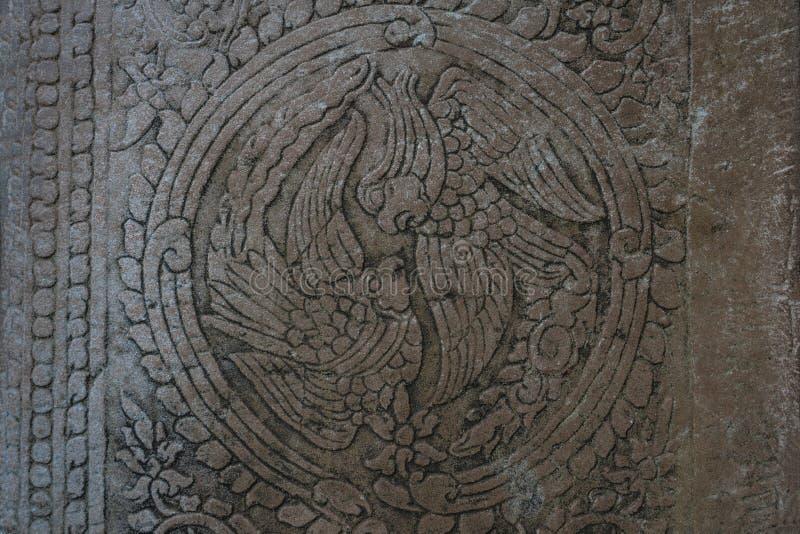 Antyczny ptasi ornament w okręgu w Angkor Wat zdjęcia royalty free