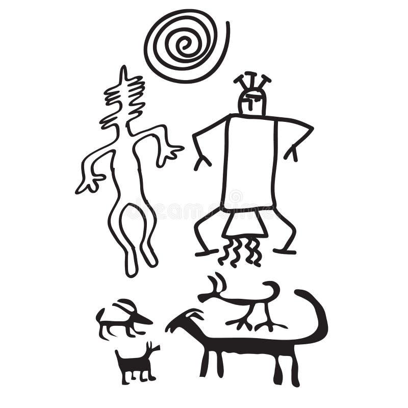 Antyczny rockowy cyzelowanie, prehistoryczni obrazy royalty ilustracja