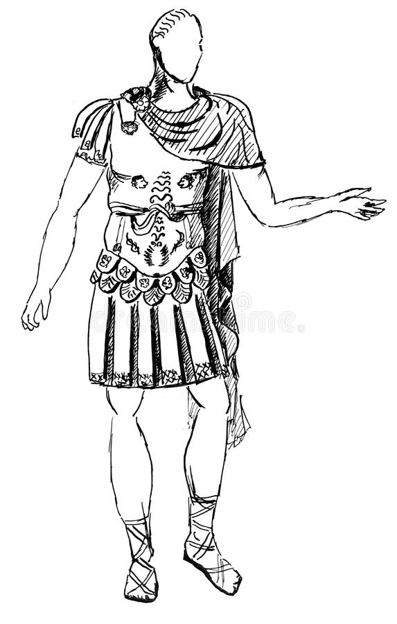 Antyczny Romański opancerzenie cesarz ilustracja wektor