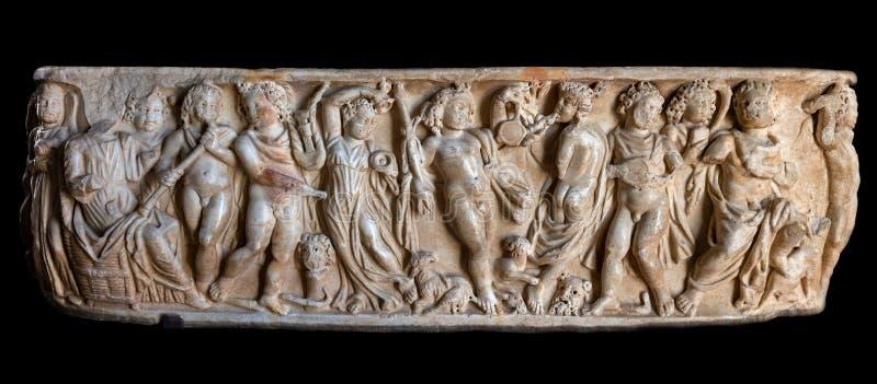 Antyczny Romański sarkofag z Bacchic Thiasos fotografia royalty free