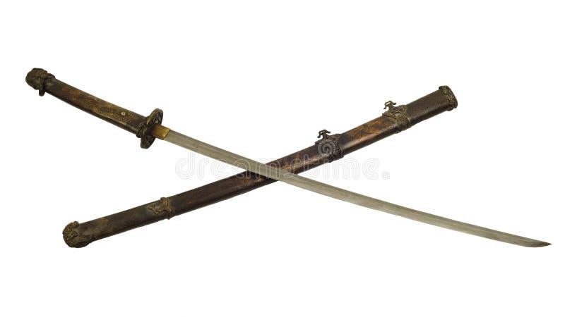 Antyczny samuraja kordzik odizolowywa zdjęcie royalty free