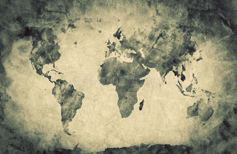 Antyczny, stary świat mapa Ołówkowy nakreślenie, grunge, rocznik