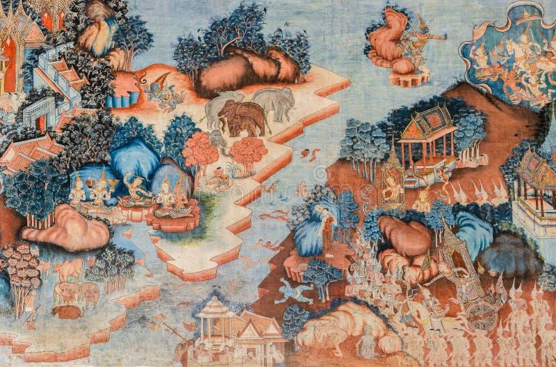 Antyczny Tajlandzki Buddyjskiej świątyni malowidła ściennego obraz obraz stock