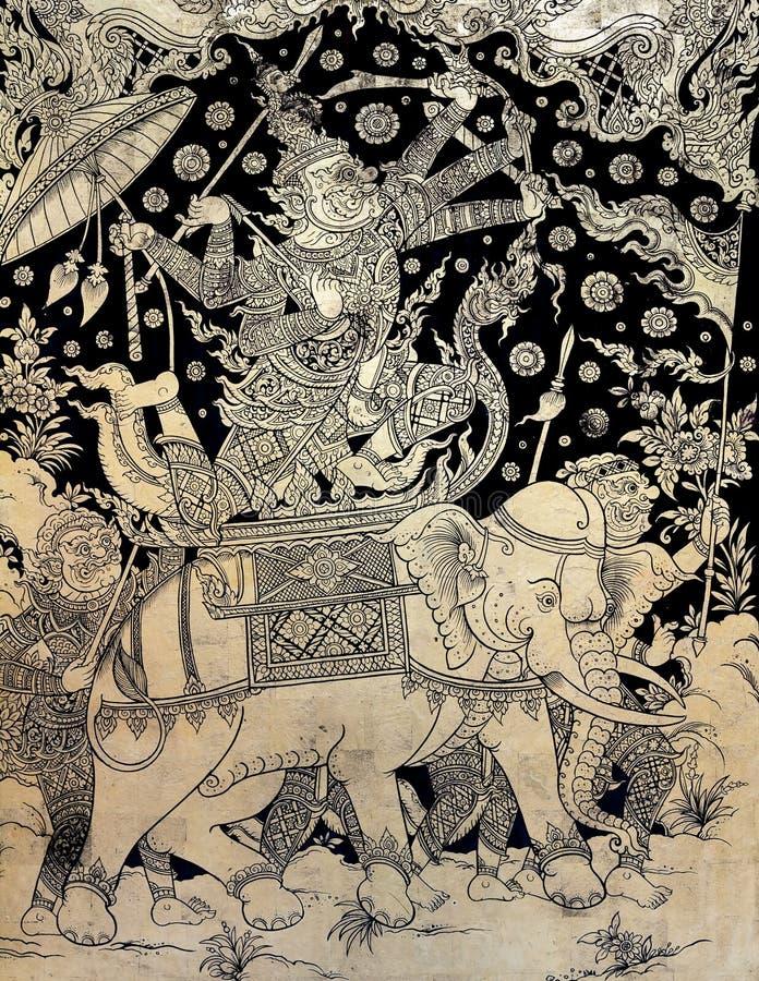 Antyczny Tajlandzki złocisty liść Ramayana epopeja zdjęcie stock