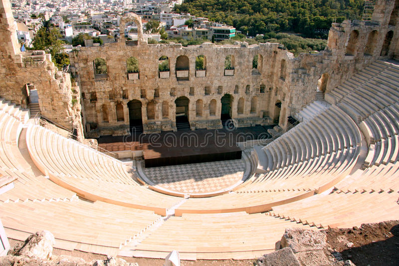 Antyczny teatr Ateny, Grecja - obrazy stock