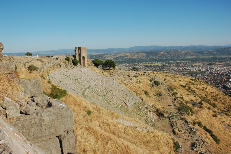 Antyczny theatre w Pergamon, Turcja obraz royalty free