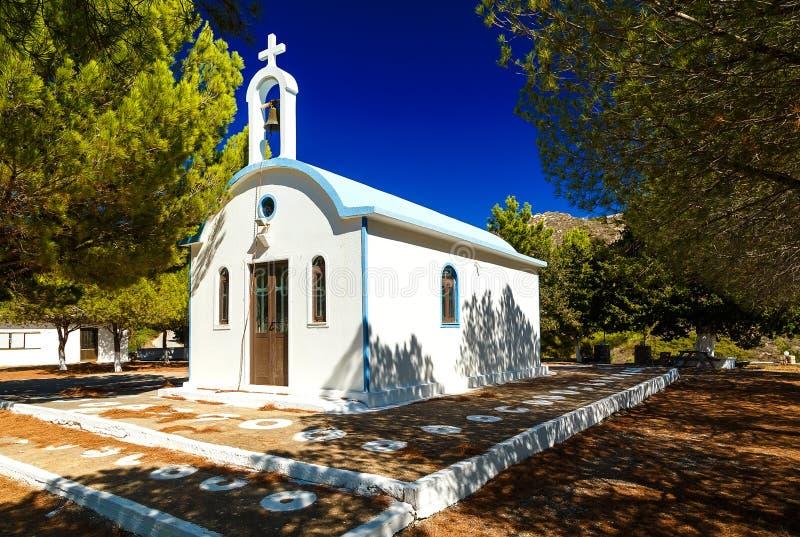 Antyczny Typowy Grecki kościół na Rhodes wyspie, Grecja fotografia stock