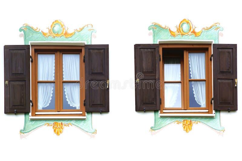 Antyczny unikalny okno. Oberammergau zdjęcia stock
