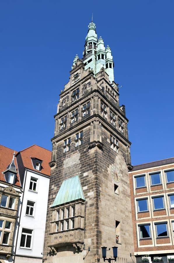 Antyczny urzędu miasta wierza, Munster, Niemcy zdjęcia stock
