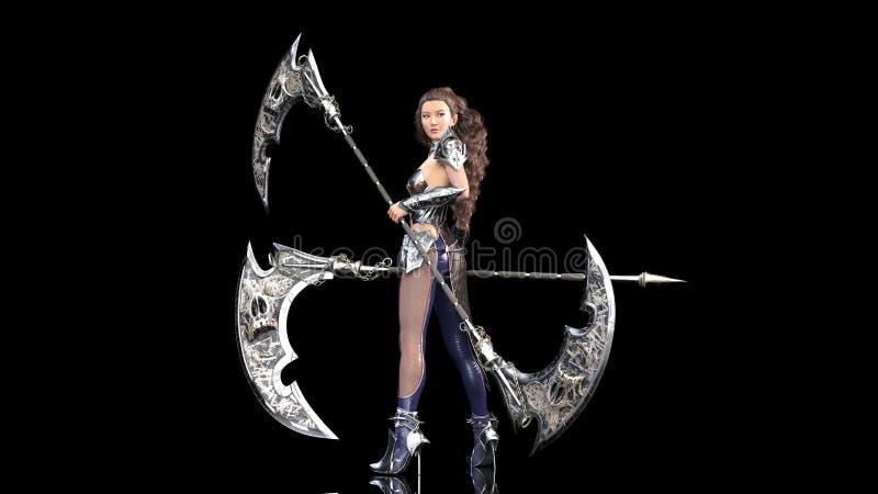 Antyczny wojownika princess, żeński fantazja wojownik trzyma średniowiecznych kos ostrza w batalistycznym opancerzeniu, odizolowy ilustracji
