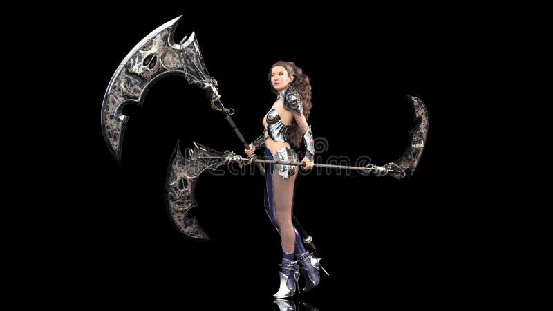 Antyczny wojownika princess, żeński fantazja wojownik trzyma średniowiecznych kos ostrza w batalistycznym opancerzeniu, czarny tł ilustracja wektor