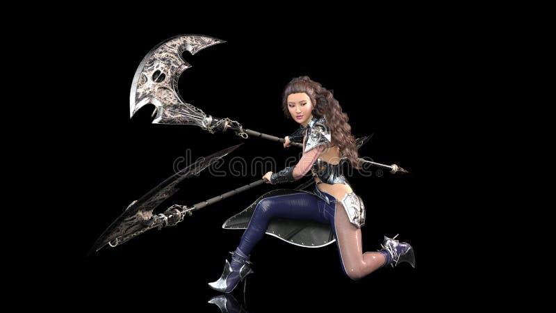 Antyczny wojownika princess, żeński fantazja wojownik włada średniowiecznych kos ostrza w batalistycznym opancerzeniu, odizolowyw ilustracja wektor