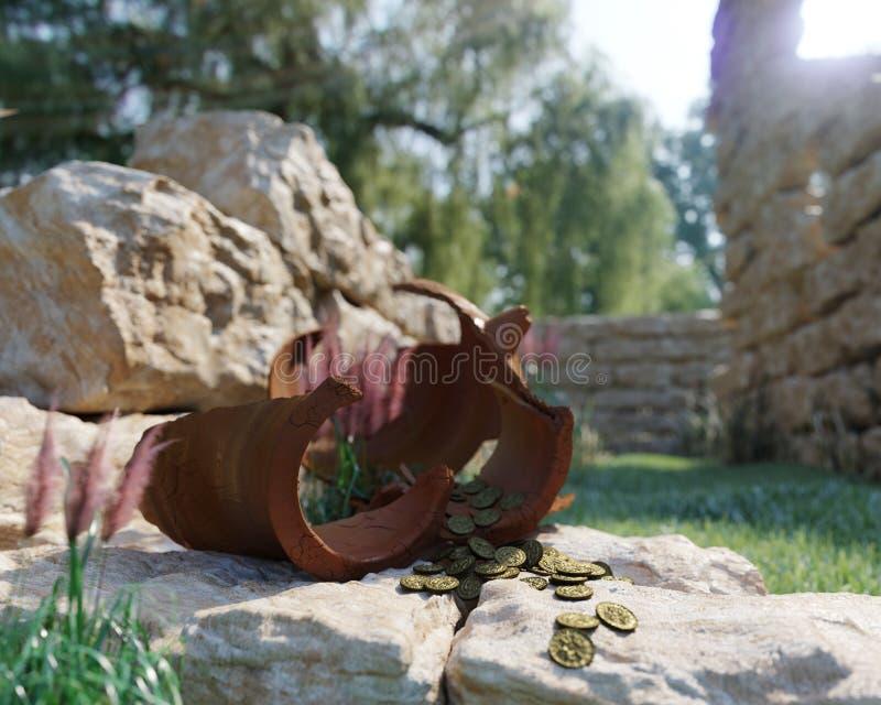 Antyczny złocistych monet skarb na antycznym ruiny pojęcia tle zdjęcia stock