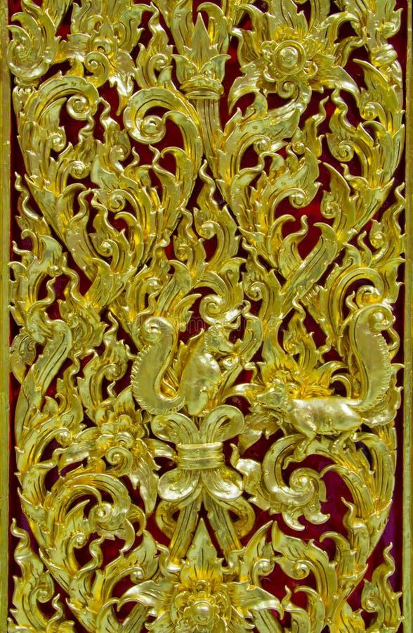 Antyczny złoty cyzelowanie drewniany fotografia royalty free