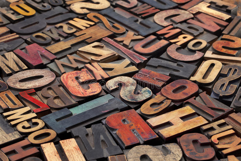 antyk blokuje letterpress druk zdjęcie stock