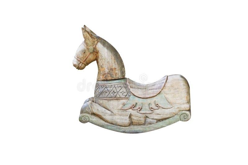 Antyk kołysa drewnianego konia odizolowywającego na białym tle fotografia royalty free