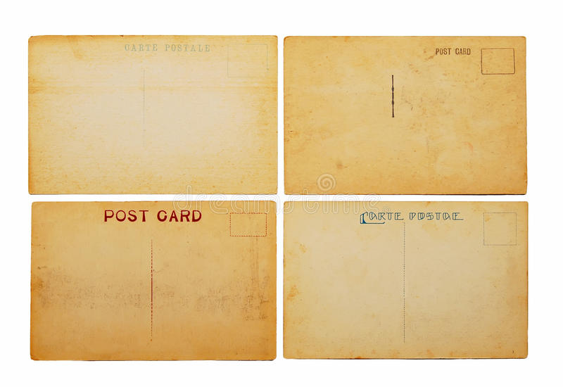 antyk pocztówki cztery obrazy royalty free