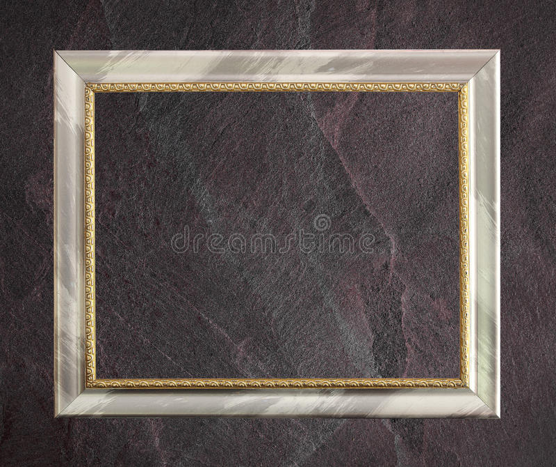 Antyk rama odizolowywająca na zmroku czerni łupku popielatym tle lub teksturze fotografia royalty free