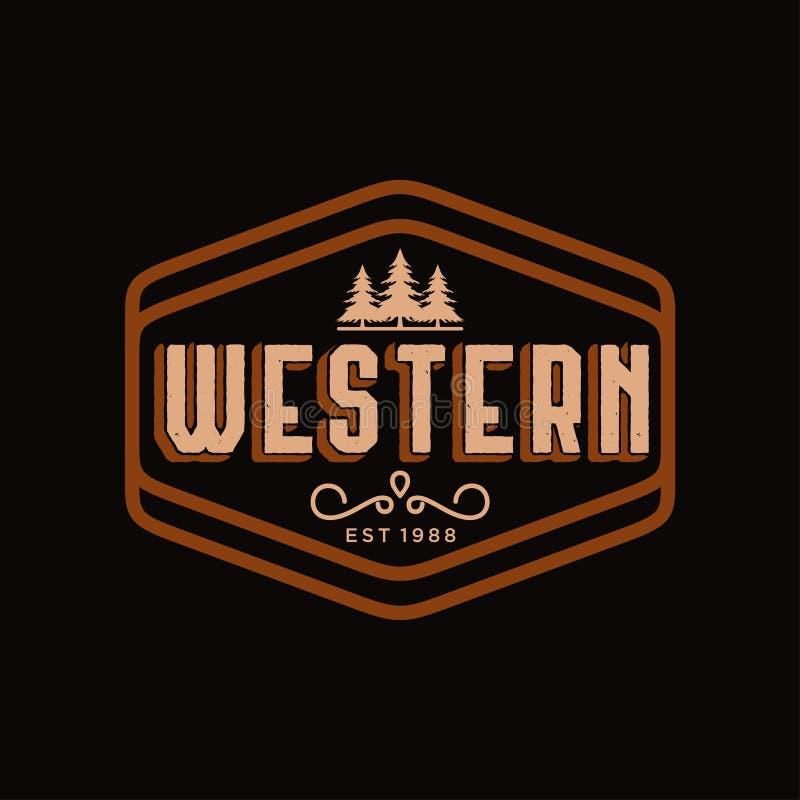 Antyk ramy granicy etykietka graweruje retro kraju emblemata typografię dla westernu Prętowej, Restauracyjnej logo projekta inspi royalty ilustracja