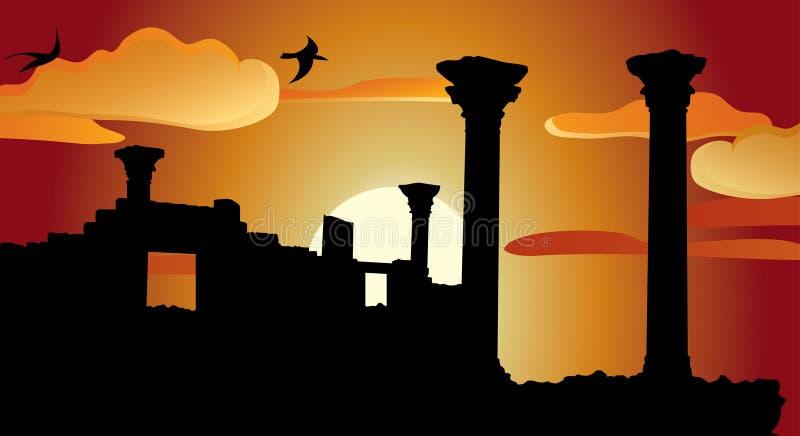 antyk rujnuje świątynię ilustracji