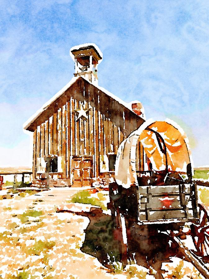Antyk zakrywał furgonu i osadnika kościół w akwareli ilustracji