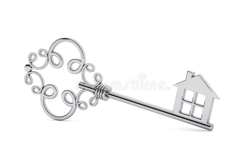 Antyka drzwi srebny klucz obraz stock