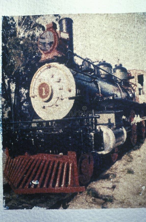 Antyka stylowy wizerunek staromodna parowa lokomotywa na eksponacie przy podróż transportu Grodzkim muzeum, Los Angeles, Califor obraz stock