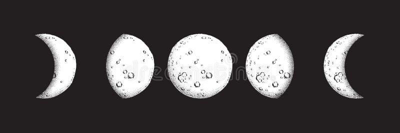 Antyka stylu kreskowej sztuki i kropki pracy księżyc ręki rysować fazy odizolowywać Boho szyka błysku tatuaż, plakat, ołtarzowa p royalty ilustracja