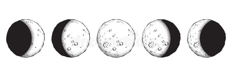 Antyka stylu kreskowej sztuki i kropki pracy księżyc ręki rysować fazy odizolowywać Boho szyka błysku tatuaż, plakat, ołtarzowa p ilustracji