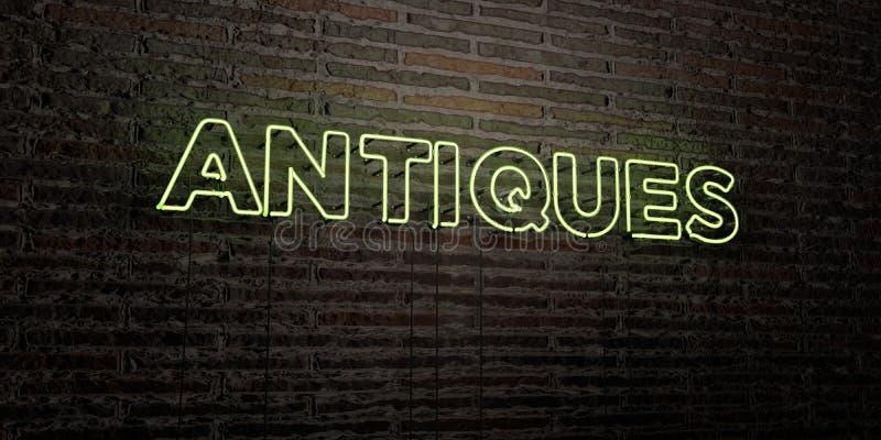 ANTYKI - Realistyczny Neonowy znak na ściana z cegieł tle - 3D odpłacający się królewskość bezpłatny akcyjny wizerunek ilustracji